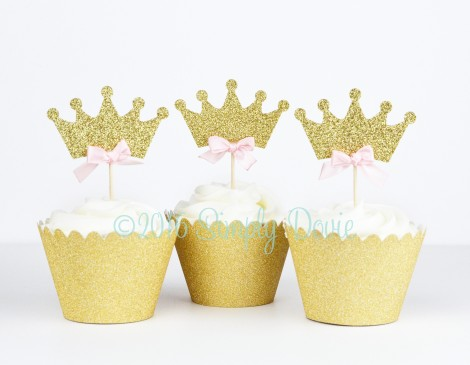 Gold Glitter Crown Cupcake Topper