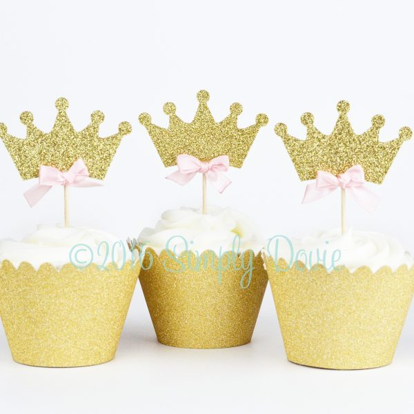 Gold Glitter Princess Crown Cupcake Topper