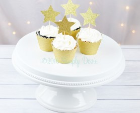 Gold Glitter Twinkle Star Cupcake Topper,star,cupcake topper,cake topper