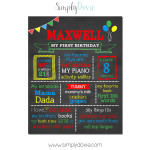 Simply Dovie A2 Balloons Birthday Chalkboard Boy