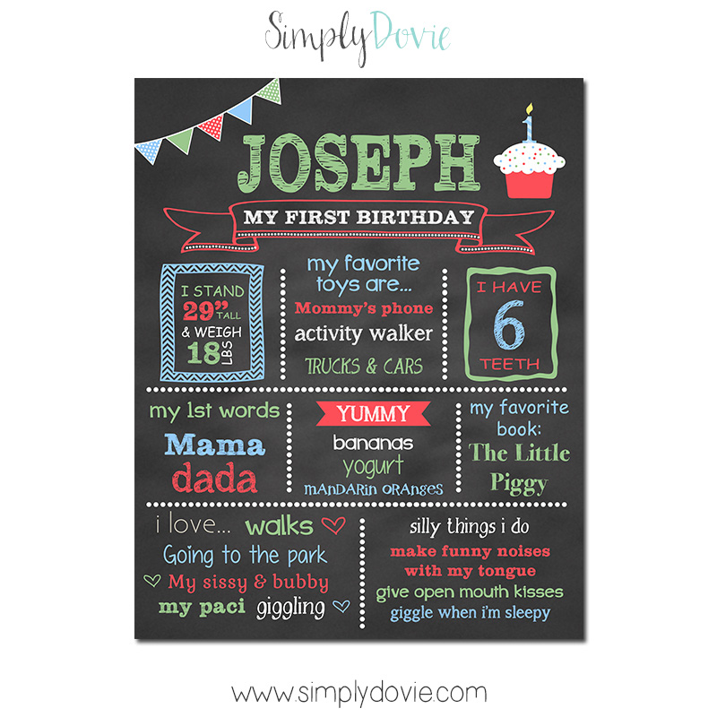 Simply Dovie A2 Cupcake First Birthday Chalkboard Boy