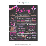 Simply Dovie Balloons First Birthday Chalkboard Girl 2331