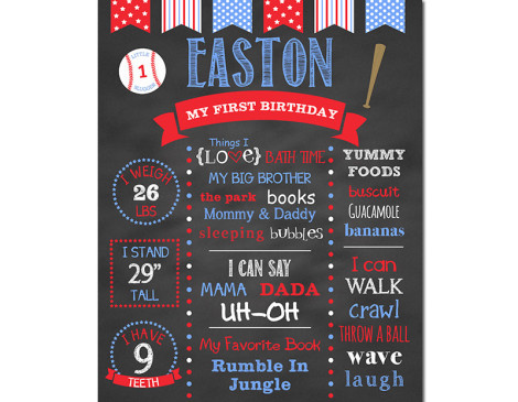 Baseball Birthday Chalkboard,First Birthday Chalkboard,birthday chalkboard,first birthday,party,decorations,birthday sign,birthday,theme,baseball birthday,baseball party,sports birthday,sports