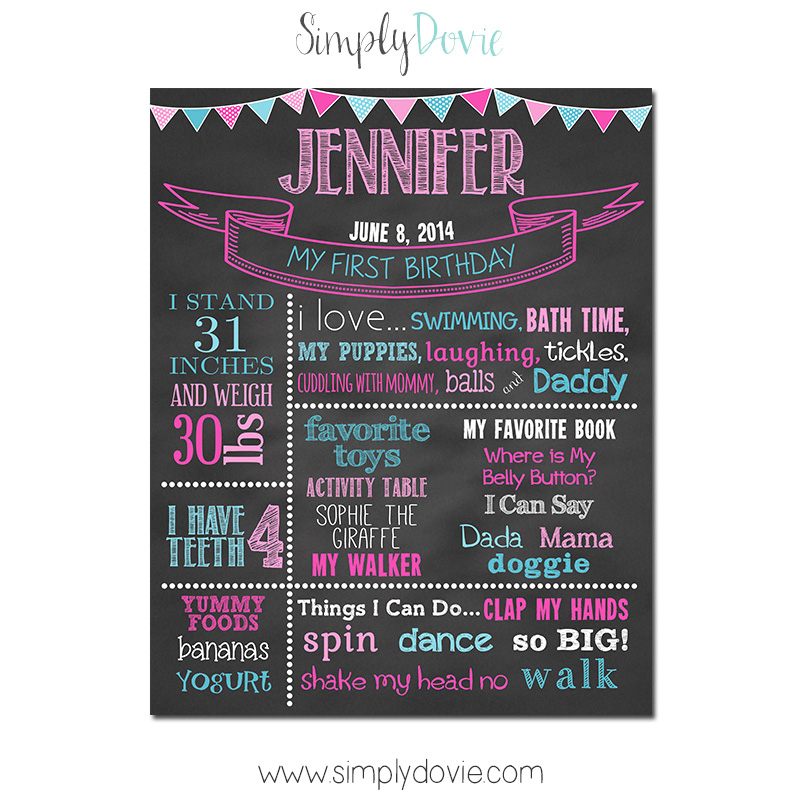 Simply Dovie Birthday Chalkboard Style E Girl