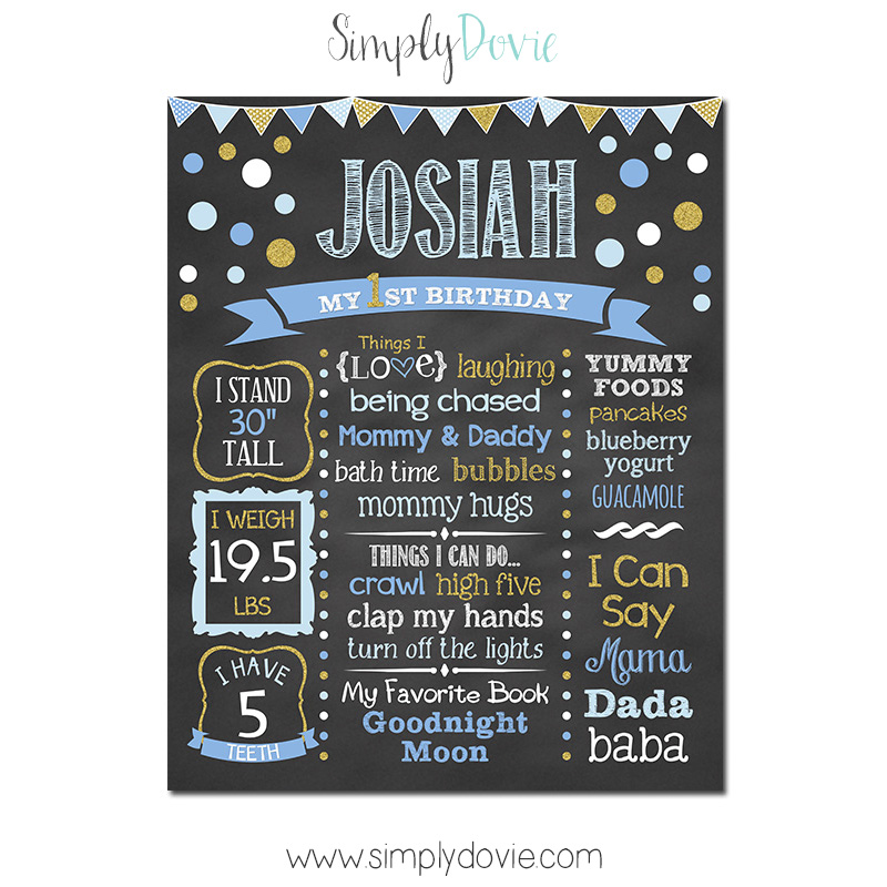 Simply Dovie Boy Chic Polka Dot Birthday Chalkboard