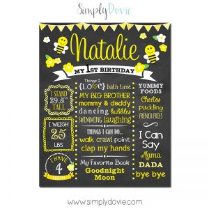 Simply Dovie Bumble Bee Birthday Chalkboard