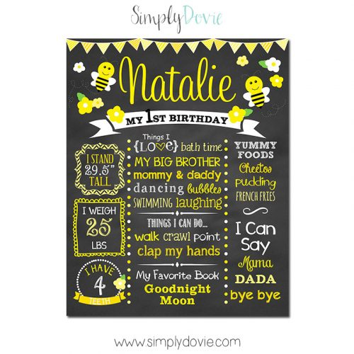 Bumble Bee Birthday Chalkboard,First Birthday Chalkboard,birthday chalkboard,first birthday,party,decorations,birthday sign,birthday,theme,bumble bee birthday,bumble bee party,bee party,bee birthday