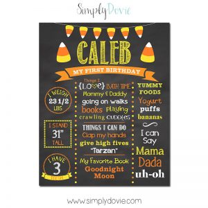 Candy Corn Halloween Birthday Chalkboard,First Birthday Chalkboard,birthday chalkboard,first birthday,party,decorations,birthday sign,birthday,theme,halloween