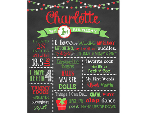 Christmas Birthday Chalkboard,First Birthday Chalkboard,birthday chalkboard,first birthday,party,decorations,birthday sign,birthday,theme