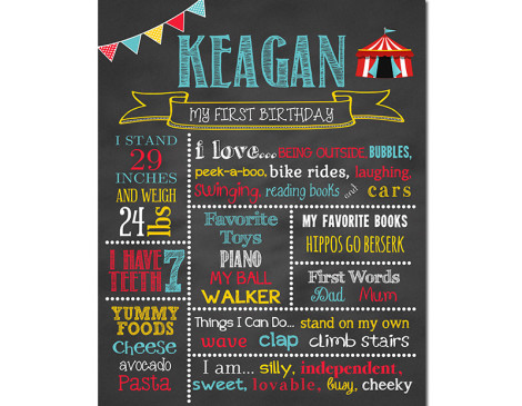 Circus Birthday Chalkboard,First Birthday Chalkboard,birthday chalkboard,first birthday,party,decorations,birthday sign,birthday,theme,circus birthday party,circus theme,circus party