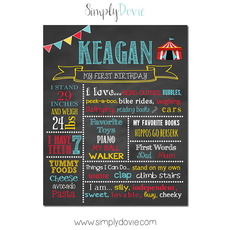 Simply Dovie Circus Tent Birthday Chalkboard Boy