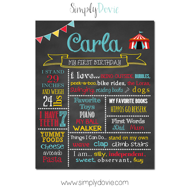 Simply Dovie Circus Tent Birthday Chalkboard Girl