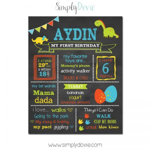 Simply Dovie Dinosaur First Birthday Chalkboard