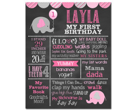 Elephant Birthday Chalkboard,First Birthday Chalkboard,birthday chalkboard,first birthday,party,decorations,birthday sign,birthday,theme,elephant birthday party,little elephant,little peanut birthday,