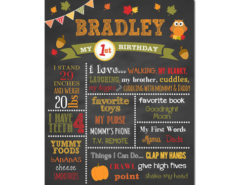 Fall Birthday Chalkboard, Woodlands Birthday Chalkboard,owl birthday party,fall birthday,First Birthday Chalkboard,birthday chalkboard,first birthday,party,decorations,birthday sign,birthday,theme