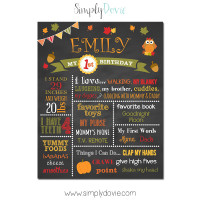Simply Dovie Fall Birthday Chalkboard girl