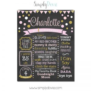 Chic Polka Dot Birthday Chalkboard,First Birthday Chalkboard,birthday chalkboard,first birthday,party,decorations,birthday sign,birthday,theme