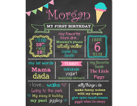 Ice Cream Birthday Chalkboard,First Birthday Chalkboard,birthday chalkboard,first birthday,party,decorations,birthday sign,birthday,