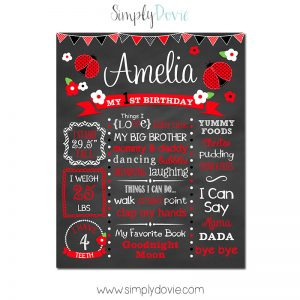 Simply Dovie Ladybug Birthday Chalkboard