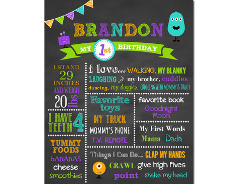 Little Monster Birthday Chalkboard - Lil Birthday Chalkboard, lil monster birthday,lil monster party,lil monster birthday chalkboard,little monster,birthday chalkboard,chalkboard signs,first birthday chalkboard,favorite things,first year stats,chalkboard poster,party,theme,decorations