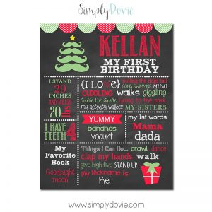 Christmas Birthday Chalkboard, Little Man Birthday Chalkboard,First Birthday Chalkboard,birthday chalkboard,first birthday,party,decorations,birthday sign,birthday,theme
