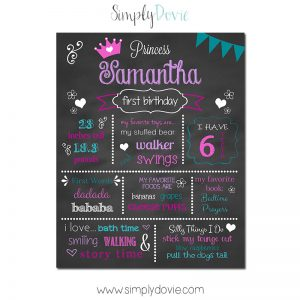 Simply Dovie Little Princess First Birthday Chalkboard