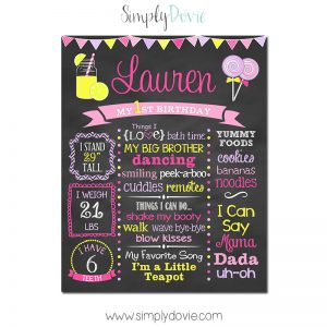 Lollipops and Lemonade Birthday Chalkboard,lemondade birthday party,birthday chalkboard,first birthday chalkboard,chalkboard signs,birthday,party,decorations,first year stats,favorite things