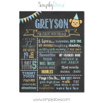 Simply Dovie Monkey Birthday Chalkboard Boy