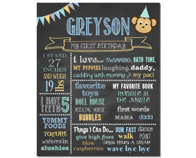 Monkey Birthday Chalkboard,First Birthday Chalkboard,birthday chalkboard,first birthday,party,decorations,birthday sign,birthday,