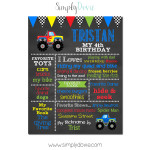 Monter Truck Birthday Chalkboard,monster jam birthday,monster truck birthday,party,birthday chalkboard,first birthday chalkboard,chalkboard signs,party,theme