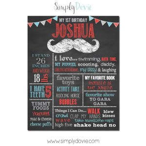 Simply Dovie Mustache Birthday Chalkboard