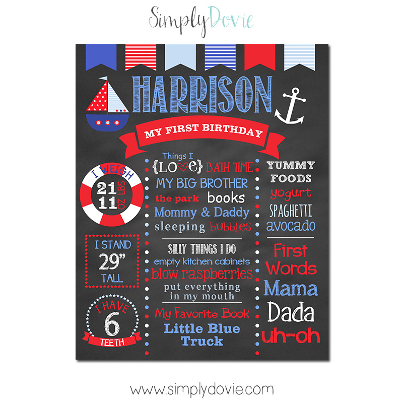 Nautical Birthday Chalkboard, Nautical Birthday Decorations, Nautical Party, Nautical First Birthday