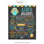 Simply Dovie Owl It's a Hoot Birthday Chalkboard Boy