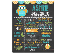 Owl Birthday Chalkboard,owl birthday,it's a hoot,birthday chalkboard,first birthday chalkboard,chalkboard signs,birthday,party,decorations,owl party theme,owl birthday