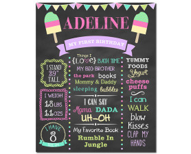 Popsicle Birthday Chalkboard