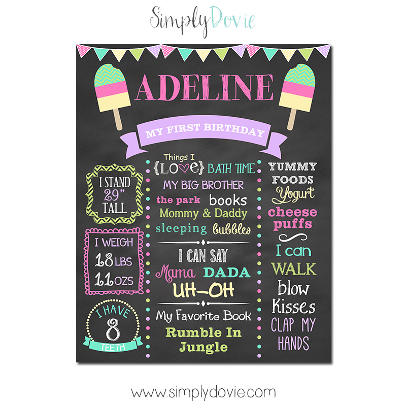 Popsicle Birthday Chalkboard Sign