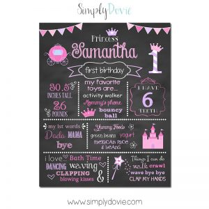 Simply Dovie Princess Birthday Chalkboard Carriage