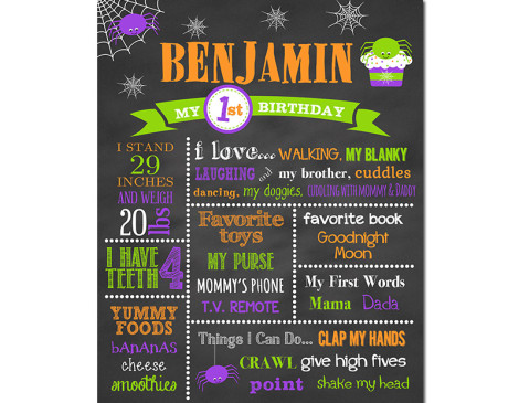 Halloween Birthday Chalkboard,First Birthday Chalkboard,birthday chalkboard,first birthday,party,decorations,birthday sign,birthday,halloween,spiders