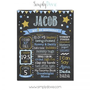 twinke twinkle little star birthday chalkboard