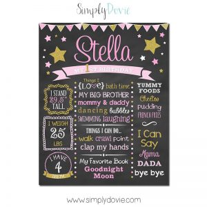 twinkle twinkle little star birthday chalkboard