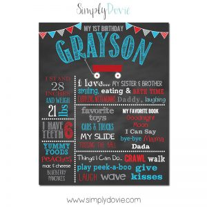 Lil' Red Wagon Birthday Chalkboard