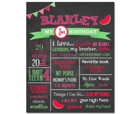Watermelon Birthday Chalkboard,watermelon birthday party,spring birthday,summer birthday,party,birthday chalkboard,chalkboard poster,chalkboard sign,first birthday chalkboard,party decorations,party theme,party,theme,birthday