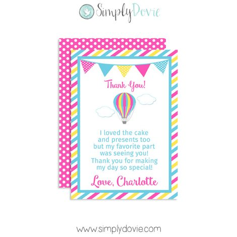Up up and away birthday thank you card