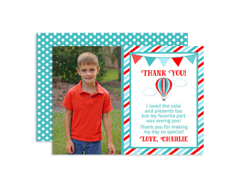 Up up and away birthday thank you cards,balloon,party,theme,hot air balloon,boys,first year,themes