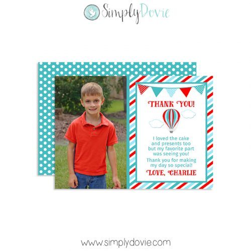 Hot Air Balloon Thank You Card, Hot Air Balloon Birthday
