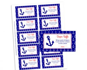 Nautical Anchor Diaper Raffle - Baby Shower