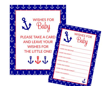 Nautical Anchor Wishes for Baby - Nautical Baby Shower