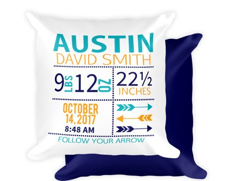 Arrow Birth Stats Pillow
