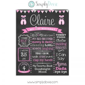 Ballerina First Birthday Chalkboard