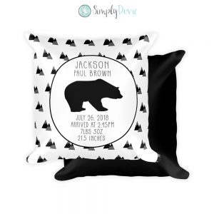 Bear Mountain Birth Stats Pillow, Birth Detail Pillow, Personalized Nursery Pillow
